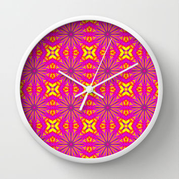 Colorful Pink Flower Cross Pattern Wall Clock by 2sweet4words Designs | Society6