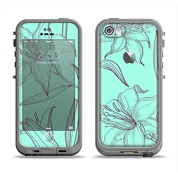 The Teal & Brown Thin Flower Pattern Apple iPhone 5c LifeProof Fre Case Skin Set