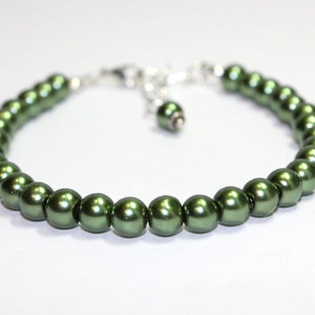 Medium Size Dark Green Pearl Dog Collar. Glass Bead Pearl Collar for Small Dogs Medium Dogs. Pet Jewelry for Puppy or Kitten. Toy Dog Teacup