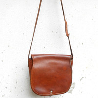 Vintage Brown Leather Purse , Shoulder , Crossbody Bag // Handmade Purse // Small