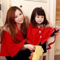 Autumn&Winter Mother Daughter Christmas Outfits Fashion Woolen Coat Collar with cap Matching Clothes Family Matching Outfits
