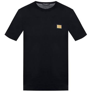 Dolce & Gabbana T-Shirt with DG Gold branded plate