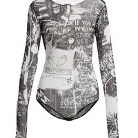Scribble-print long-sleeved bodysuit | MM6 Maison Margiela | MATCHESFASHION.COM US