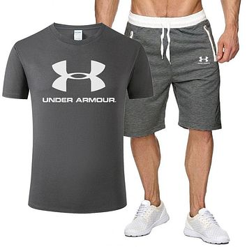 Under Armour Fashion New Letter Print Sports Leisure Top And Shorts Two Piece Suit Men Dark Gray