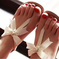 3235u Bowknot is flat sandalsA1