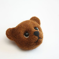 Teddy Bear Brooch, needle felted jewelry, funny, brown, handmade