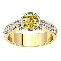1.41 carats Yellow & white round diamond two tone gold engagement ring jewelry