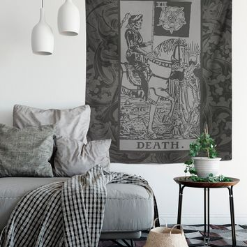 Death Tarot Card Tapestry - Black & Grey