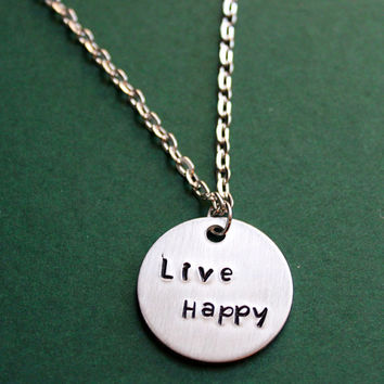 Live Happy Necklace, Inspirational Happiness Jewelry Positive Mantra