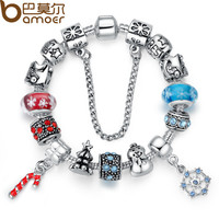 BAMOER Luxury Silver Charm Bracelet & Bangle for Women With High Quality Murano Glass Beads DIY Christmas Element Gift PA1806