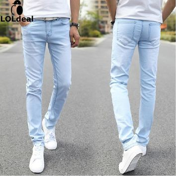 Male Fashion Designer Brand Elastic Straight Jeans 2017 New Men Mid Pants Slim Skinny Men Jeans Stretch Jeans for Man