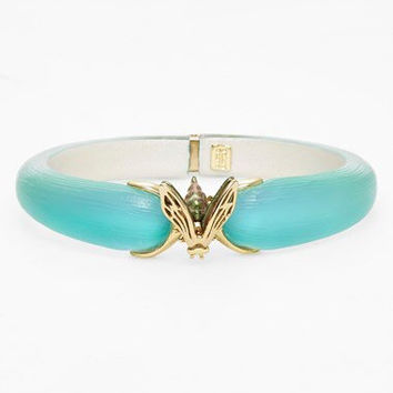 Alexis Bittar Turquoise Lucite And Gold Bee Hinged Bracelet