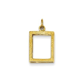 14k Gold Small Picture Frame Pendant