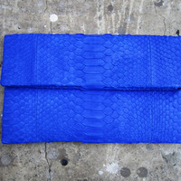 Neon Blue Fold Over Python Snakeskin Leather Clutch by linmade