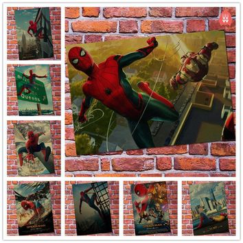 New Vintage Spiderman Homecoming Superhero Movie Poster Bar Kids Room Home Decor Spider-man Retro Kraft Paper Wall Sticker Decal