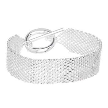 "Mesh 925 Sterling Silver  Bracelet for Women-""Alma""  Bracelet"
