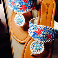 "Lilly Pulitzer Inspired Jack Rogers Look-Alike Sandals in ""She She Shells"""