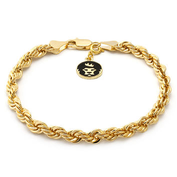 4mm 14K Gold Rope Dookie Bracelet