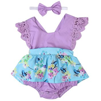 Newborn KIDS Baby Girls Clothes Dress Diaper Cover +Headband baby Dresses Printing Toddler Littel Girl Clothing