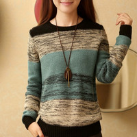In the fall and winter of 2015 new women's clothing han edition round collar bump color sweater coat turtleneck sweater top coat female