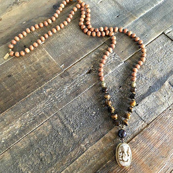 "Sandalwood and Tiger's Eye Ganesh ""Success"" Mala Prayer Beads Necklace"