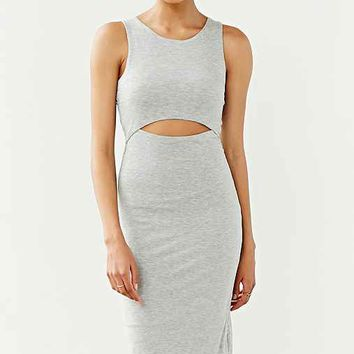 Silence + Noise Cut-Out Front Bodycon Midi Dress- Grey