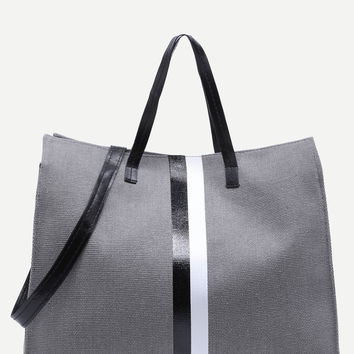 Contrast Striped Canvas Tote With Strap