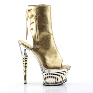 Illusion 1018 Gold Leatherette Textured Platform High Heel Ankle Boot