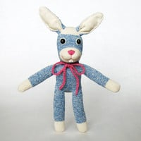 Easter bunny rabbit stuffed toy blue baby friendly Rockford Red Heel sock monkey crocheted pink scarf baby shower gift for boys and girls