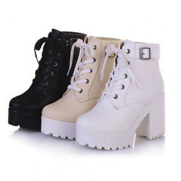 2016 New Womens chunky heel platform lace-up punk goth creeper ankle boots shoes