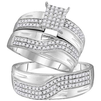 10kt White Gold His & Hers Round Diamond Cluster Matching Bridal Wedding Ring Band Set 3/4 Cttw