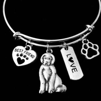 Labradoodle Dog Expandable Charm Bracelet Silver Adjustable Wire Bangle Gift Best Friend Paw Print Pet Animal Lover Jewelry Gift