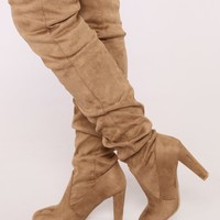 Rich Girl Over The Knee Boot - Taupe