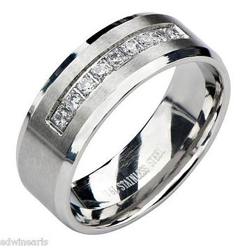 Edwin Earls Cz Stainless Steel Men's Wedding Band