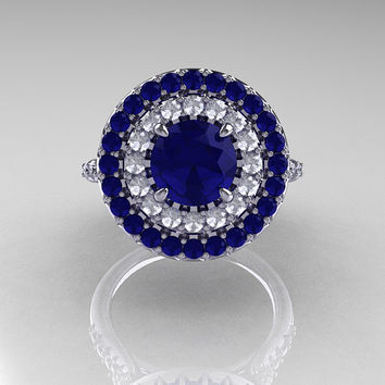 Tiffany Soleste Style 14K White Gold 1.0 Ct Blue Sapphire Diamond Ring R236A-14KWGDBS