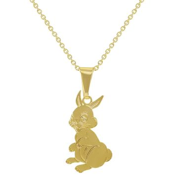 18k Gold Plated Bunny Rabbit Kids Children Pendant Necklace for Girls 16""