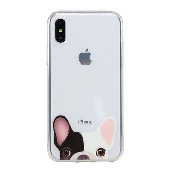 Arunners Animal Pet Dog Iphone X Case Cover Crystal Paint French Bulldog Design Clear Cute Kawayi Unique Funny Phone Cases Skin For Iphone 5.8 Inch Amber