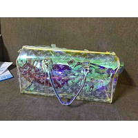 LV Fashion Printed Transparent Luggage for Men and Women