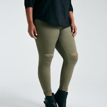 Plus Size Colored Slit-Knee Roll Cuff Jeans | Wet Seal Plus