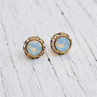 White Opal Earrings - Small Gold or Silver Sugar Sparklers - Swarovski White Opal Diamond Rhinestone Vintage Stud Earrings - Mashugana