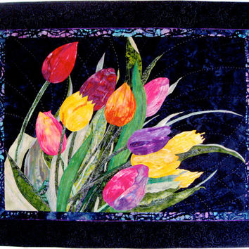 Art Quilt WIND TOSSED TULIPS Applique Wall Hanging