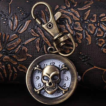 Key Chain Watch Fashion Skull Shape Design Arabic Numbers Analog