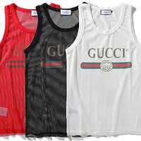 Gucci Trending Women Casual Mesh Letter Print Vest Tank Top Three Color