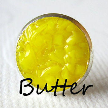 Butter Earrings Yellow Druzy Studs Butter Yellow Earrings Bright Yellow Round Silver Studs Butter Yellow Color Bridal Earrings
