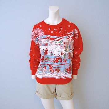 1980's Ugly Tacky Christmas Sweater Sweatshirt Snowy Scene of Ice Skating Pond Rink Winter Snow Vintage Retro Glitter Size Medium Snowflakes