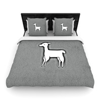 "Monika Strigel ""Llama One"" Grey Woven Duvet Cover"