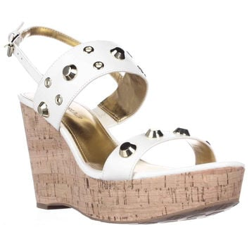 Ivanka Trump Gitty Platform Studded Wedge Sandals, White Leather, 9.5 US