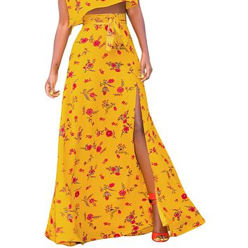 Yellow Floral Thigh Slit Maxi Skirt
