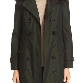 Burberry 'Sandringham' Cotton Trench Coat with Genuine Fox Fur Trim | Nordstrom