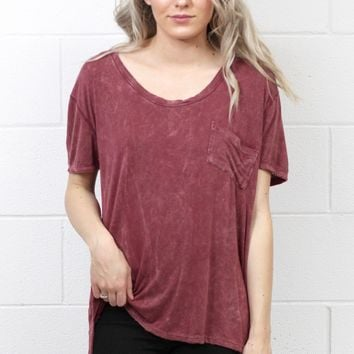 Short Sleeve Acid Wash Pocket Top {Burgundy}